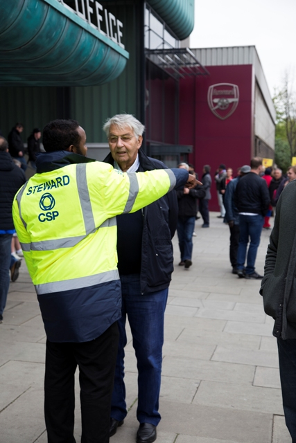 Offering directions at the Emirates Stadium